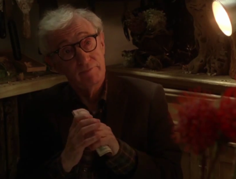 Уди Алън в кадър от Fading Gigolo, снимка от рекламния клип за филма